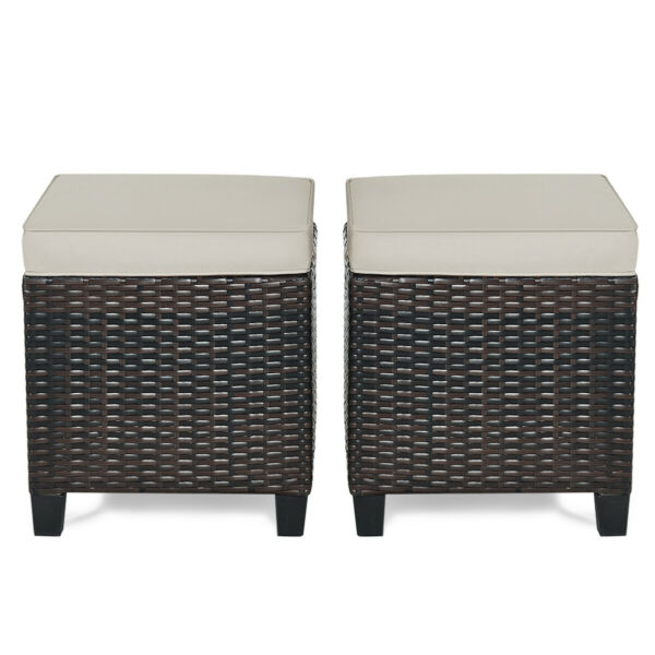 2PCS Patio Rattan Ottoman Cushioned Seat Footrest Coffee Table Outdoor Furniture $139.59