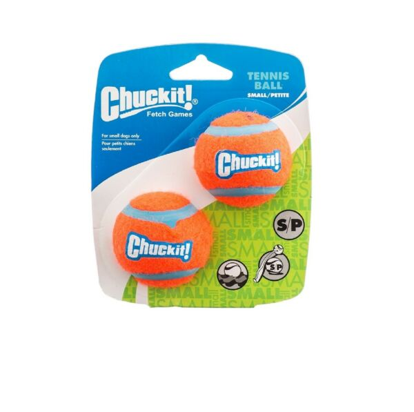 Chuckit Dog Puppy Fetch Throw Chase & Play Extra Thick Tennis Balls Small 2 Pack