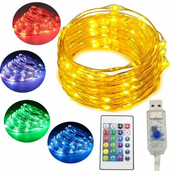 Christmas Led Lights Remote Control Changeable Fairy Bulbs 16 Colors 5M 10M
