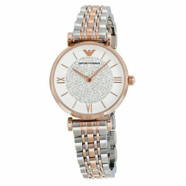 Emporio Armαni AR1926 Two Tone Rose Gold  White Silver Classic Womens Watch