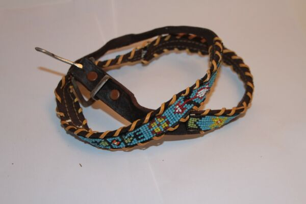 Vintage Leather Beaded Beads Native American Indian Style Belt  Parts Only