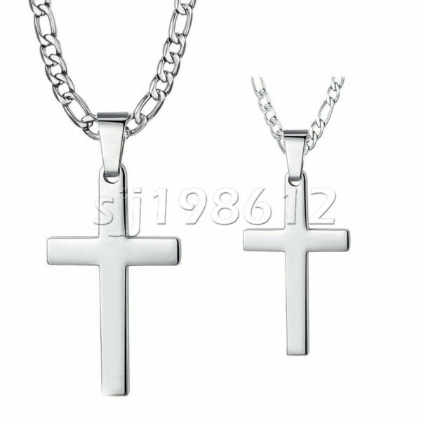 Mens Women Silver Cross Pendant Necklace Stainless Steel Figaro Chain 18quot; 30quot; $7.59