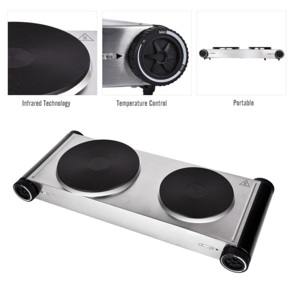 1800W Double Electric Hot Plate Countertop Burner Portable Cooktop Cast Iron US