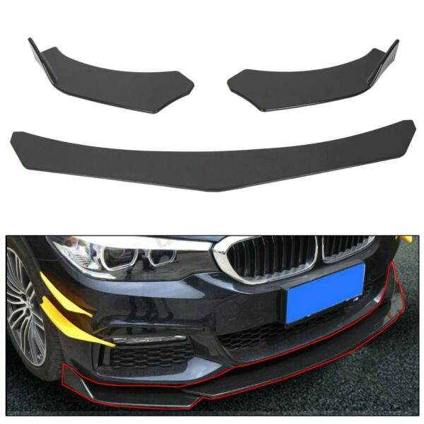 3pcs Front Bumper Lip Splitter Spoiler Black Universal Adjustable Angle USA Ship