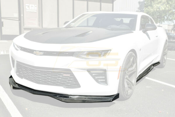 EOS T6 Style CARBON FIBER Front Lip End Caps & Side Skirts For 16-18 Camaro SS