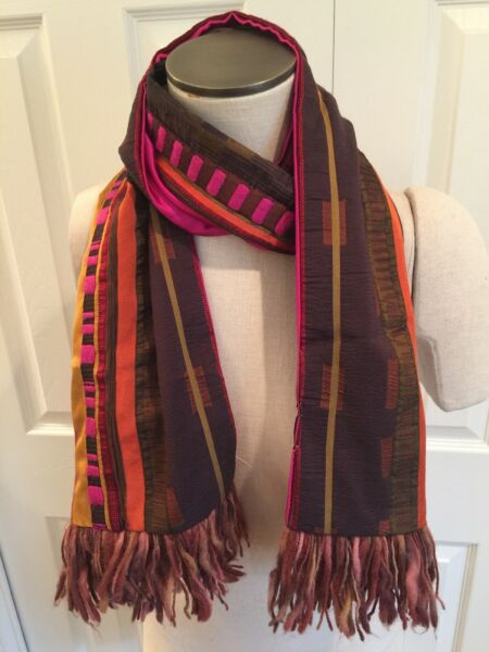 ETRO SCARF. PINK BROWN MULTICOLOR WOOL SILK BLEND SCARF $99.99