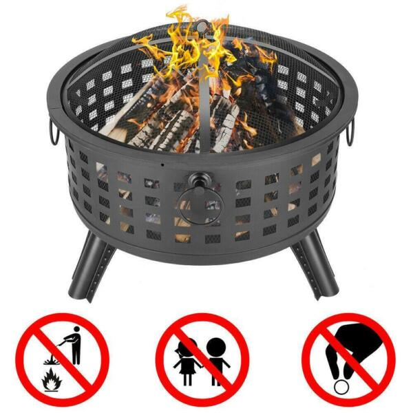 New Large Outdoor Fire Pit Wood Burning Backyard Patio Steel Bowl Fireplace US