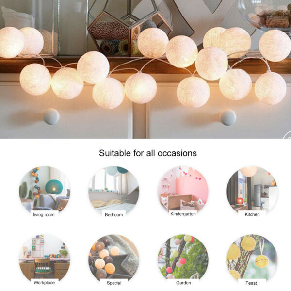 20pcs Holiday Decoration LED Cotton Ball Color Light StringBedroom Decor Lamp