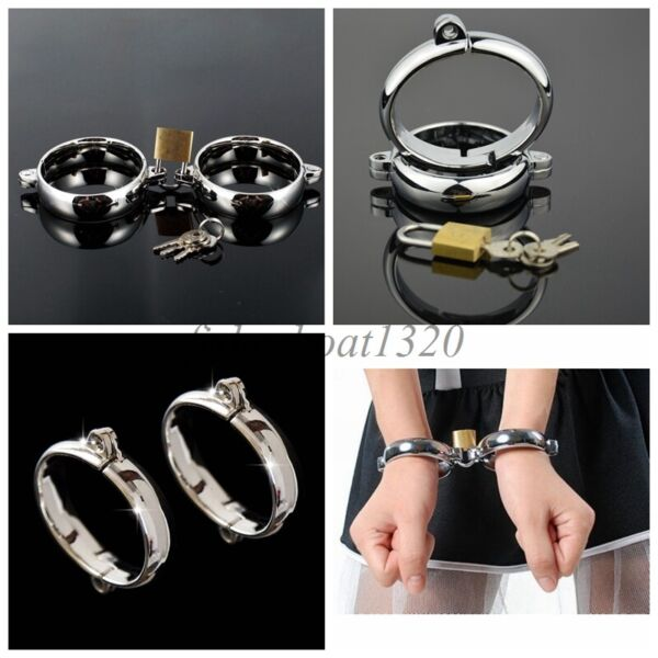 Stainless Steel Handcuffs Anklecuffs Metal Restraint tool Sexy Slave BDSM Couple