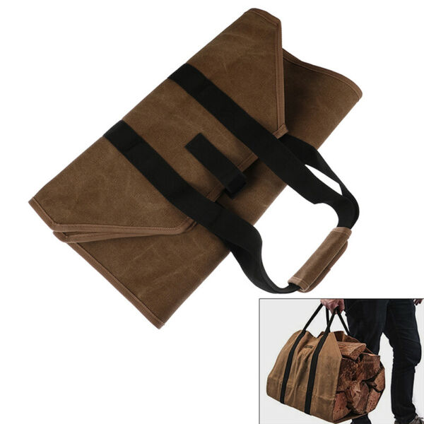 Firewood Carrier Log Carrier Wood Carrying Bag for Fireplace 16oz Waxed Can US