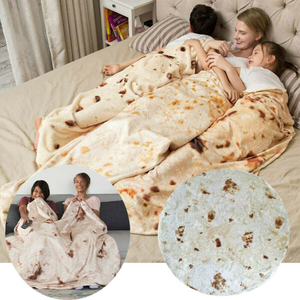 Round Taco Burrito Tortilla Shaped Blanket Soft Flannel Wrap Throw Blanket New $16.48