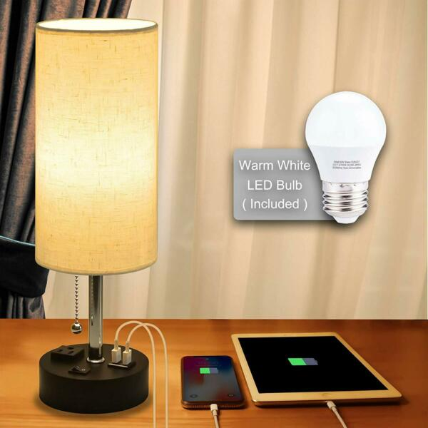 USB Bedside LampCotanic Modern Table Lamp with Charging PortsNightstand Lamps
