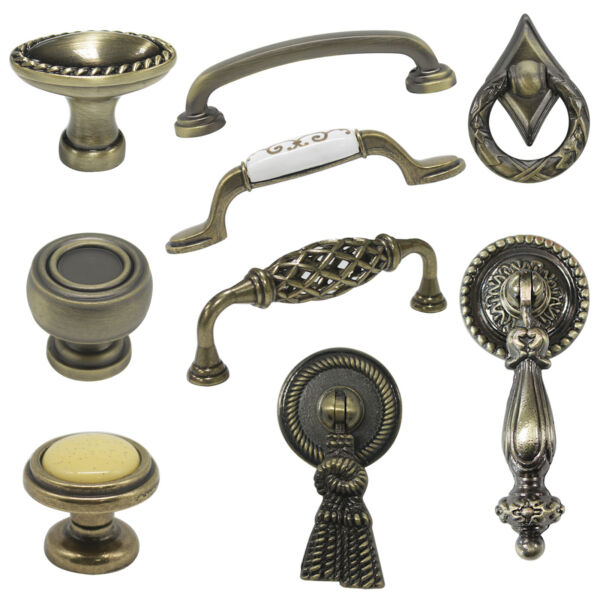 Antique Bronze Kitchen Cabinet Cupboard Knob Handles Vintage Style Drawer Pulls