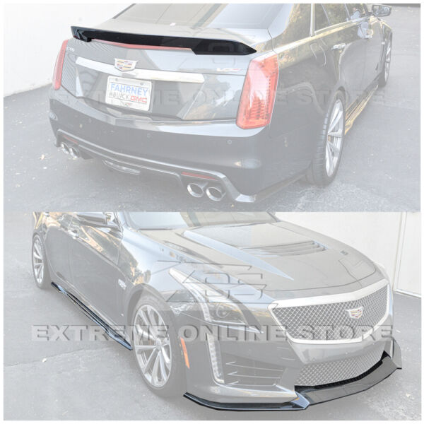 CARBON FIBER Package Front Lip Side Skirts Rear Spoiler For 16-Up Cadillac CTS-V