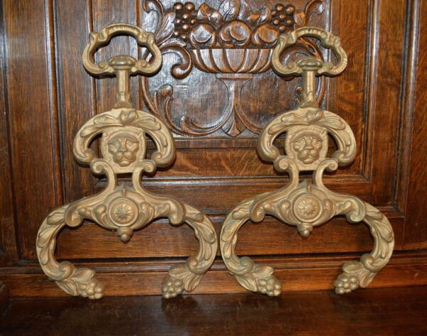 Antique Pair French Fireplace Lion Heads Fire Dogs Andirons Bronze Fronts Only