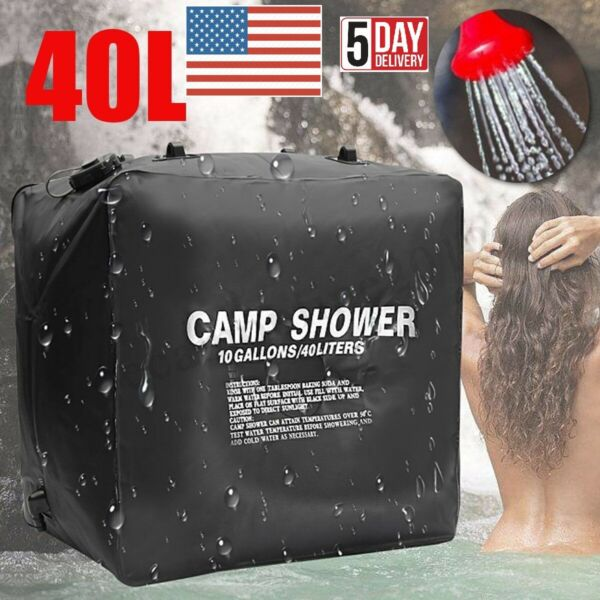 40L Camp Shower Bag Solar Heat Water Pipe Camp Solar Shower Bag Portable Bag USA $18.99