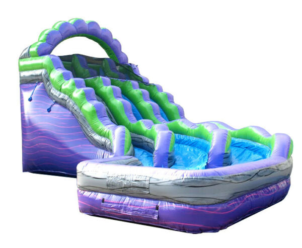 19'H Purple Marble Curved Commercial Inflatable Double Lane Water Slide wBlower