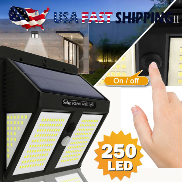 250 LED Solar Power Lights PIR Motion Sensor Wall Lamp Garden Waterproof Outdoor