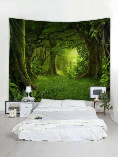 Forest Tapestry Tree Wall Hanging Tapestries Bedspread Art Blanket Home Decor US