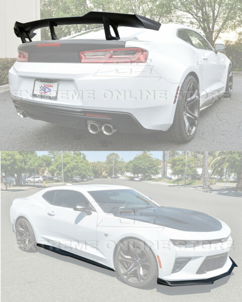 Refresh ZL1 1LE Style Front Lip Side Skirts & Rear Spoiler For 16-Up Camaro SS