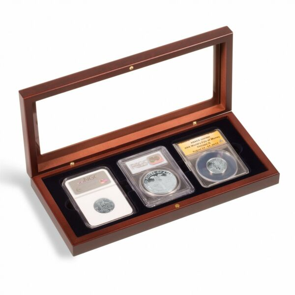 3 Certified PCGS NGC Slab Coin Wood Box w Glass Lid Safe Storage Display Case