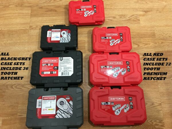 CRAFTSMAN 1 4quot; or 3 8quot; SOCKET SET amp; RATCHET SAE OR METRIC 6 PT SETS YOUR CHOICE