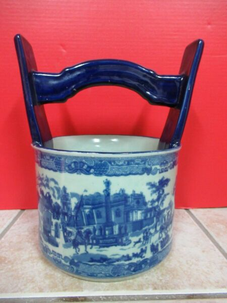 VINTAGE IRONSTONE POTTERY HANDLED PAIL  BLANKET PLANTER BLUEWHITE VILLAGE