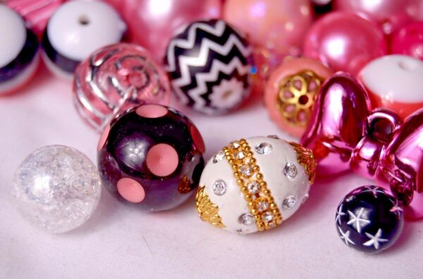 Fancy Bubblegum Bead Princess Mix with Indonesian Glass Beads BM301 $7.99