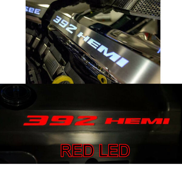 Polished Fuel Rail Covers W/ Red LED Inlay for 2011-2014 SRT 8 6.4 392 Engines