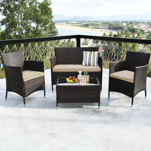 4PCS Rattan Patio Furniture Set Cushioned Sofa Chair Coffee Table Garden $219.59