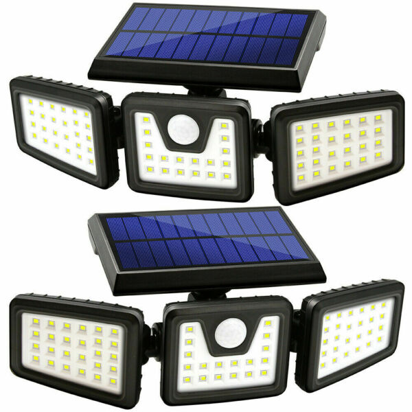 2 Pack Solar Lights Motion Sensor Security LED Waterproof Adjustable head