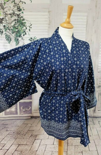 TOAST Navy blue anda print kimono short gown bed jacket size L BNWT