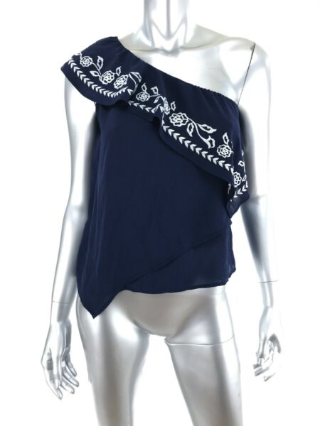 Express XS One Shoulder Top Shirt Blue White Embroidery Ruffle Asymmetrical