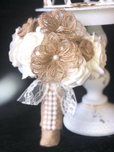 Small Toss Retro Country Wedding Bouquet Burlap Flowers Lace Shabby Chic Touch