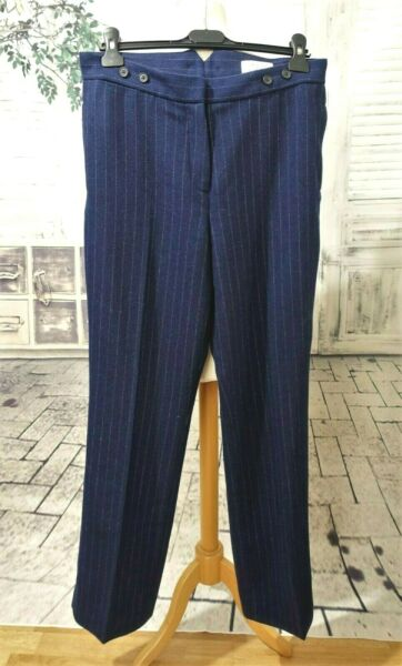 TOAST Moon Tweed Wool navy blue pinstriped trousers size 12
