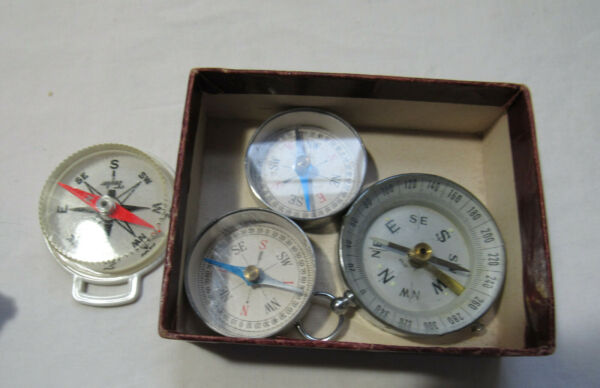 4 Vintage direction north south east west Compass small metal plastic