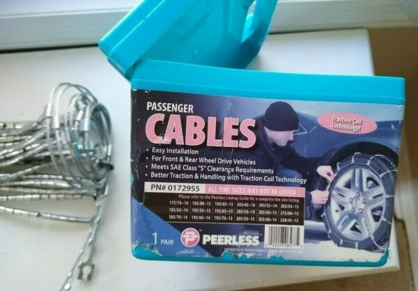 TIRE CABLE SNOW CHAINS PAIR OF PASSENGER CAR PEERLESS 0172955 VEHICLE