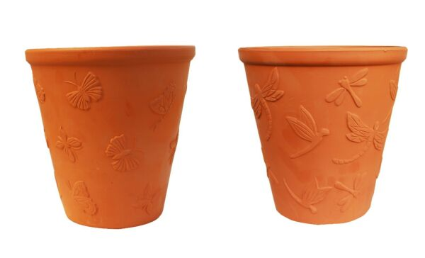 LARGE SET OF 2 TERRACOTTA GARDEN POTS BUTTERFLY AND DRAGONFLY EMBELLISHED $48.95