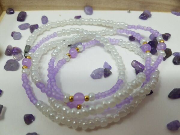 purple and white waist bead