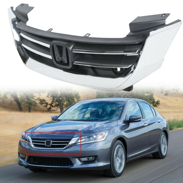 Black & Chrome Front Bumper Hood Replacement Grill for Honda Accord 4d 2013-2015