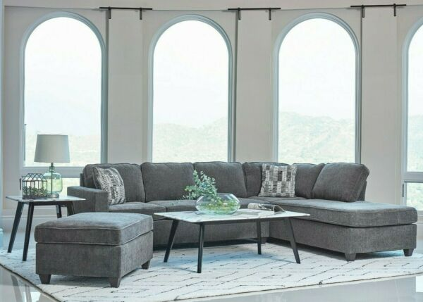 Modern Living Room 2 Piece Sofa Sectional with Reversible Chaise Gray Fabric $1199.99