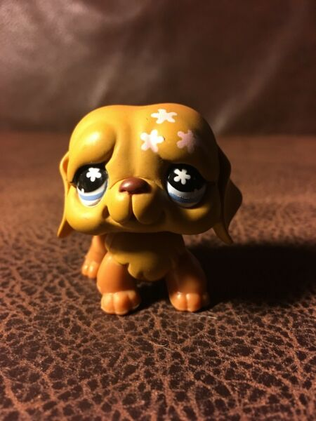 LITTLEST PET SHOP DOG ST BERNARD PUPPY #481 CHOCOLATE PINK FLOWERS $7.00