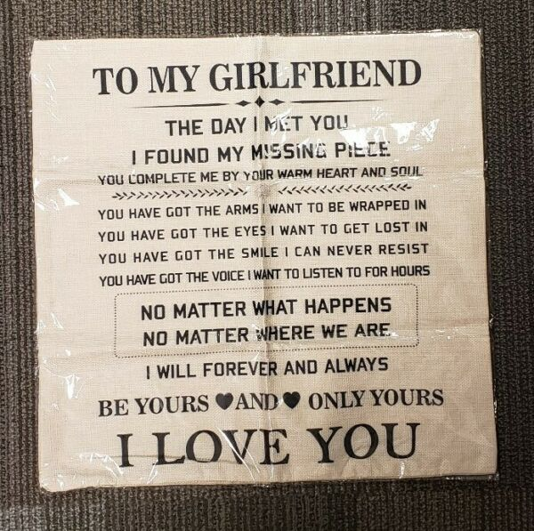 Burlap quot;To My Girl Friendquot; Sign 17x17 Brand New