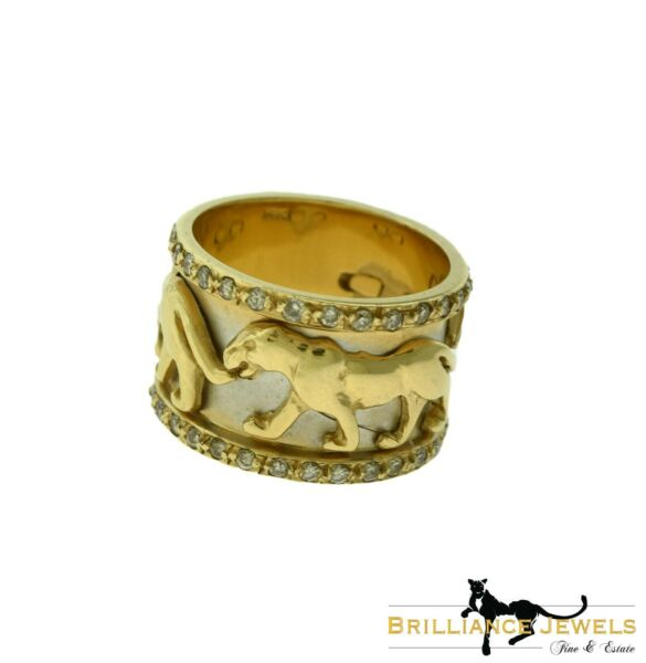 Diamond Panther Wide Band Ring in 14k Yellow Gold