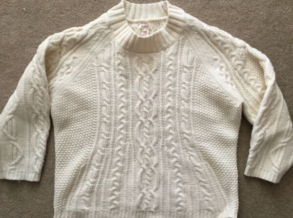 Sundance Ivory Lambswool Cable Knit Fishermans Sweater Sz L Wide Neck Boxy Boho