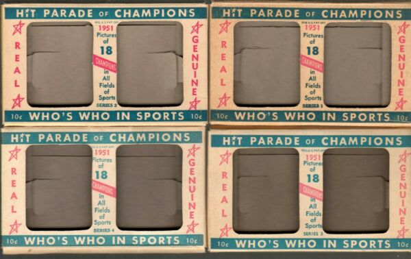1951 Berk Ross Panel Hit Parade of Champions Complete Set of Empty Four Boxes