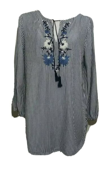 Old Navy The Tunic Shirt Blouse Embroidery Blue White Tassel Peasant Top Medium