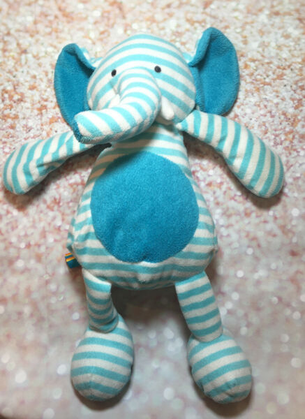 """Giggle Baby Plush Blue and White Striped Elephant Stuffed Toy Manhattan Toy 13"""""""