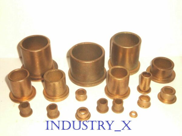 Oilite Bronze Bushing with Flange - Pick Your Size & Quantity - Oil Lite Brass
