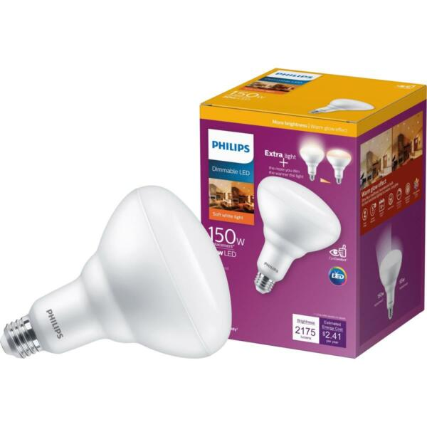 Philips Warm Glow 150W Equivalent Soft White BR40 Medium Dimmable LED Floodlight